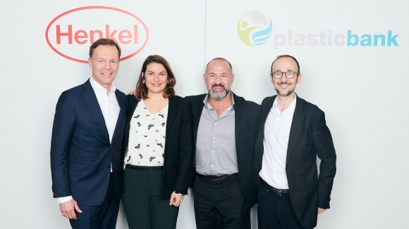 Next step in the partnership of Henkel and Plastic Bank (from left): Jens-Martin Schwärzler (Henkel), Sylvie Nicol (Henkel), David Katz (Plastic Bank), and Bruno Piacenza (Henkel)